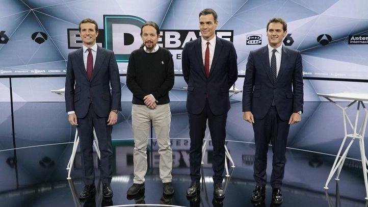 Segundo debate electoral entre Pedro Sánchez, Albert Rivera, Pablo Iglesias y Pablo Casado.