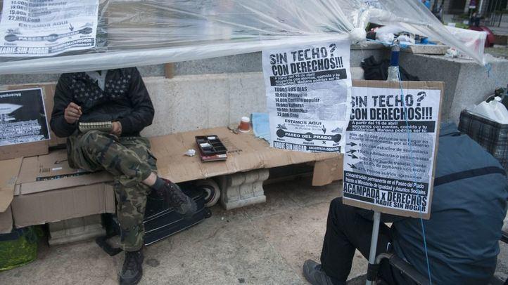 Carpa principal de las personas acampadas en el Paseo del Prado