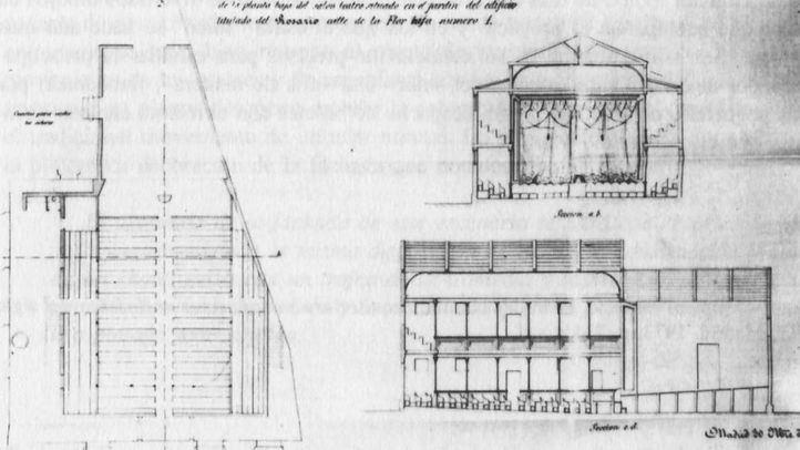Proyecto del Café Teatro El Recreo, realizado por Manuel Villar en 1867.