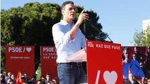 Pedro Sánchez en el acto de cierre de la campaña electoral en Entrevías (Vallecas).