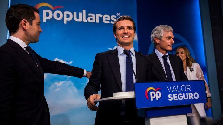 Pablo Casado, en la rueda de prensa posterior a las elecciones