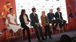 Garbiñe Muguruza, María José Rienda, Feliciano López, Manuela Carmena, Ignacio Garralda y Rafael Nadal en la inauguración de Mutua Madrid Open