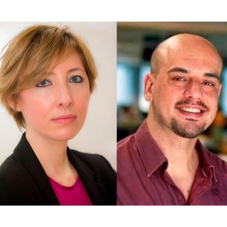 María Cano y Carlos Hidalgo, entre los micrófonos de Onda Madrid