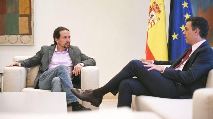 Pedro Sánchez recibe en La Moncloa a Pablo Iglesias.