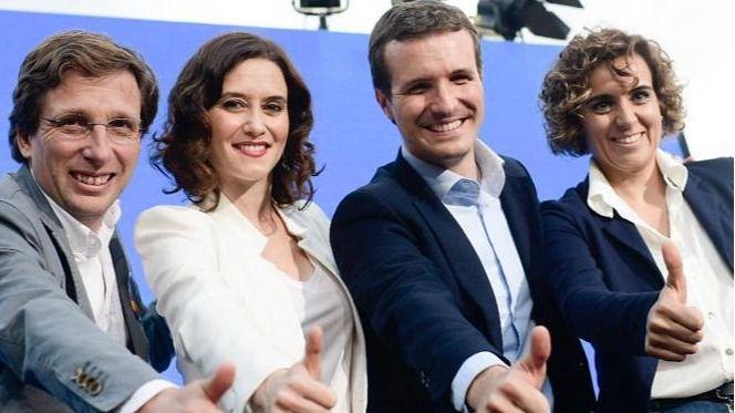 Dolors Montserrat, Pablo Casado, Isabel Díaz Ayuso y José Luíz Rodríguez Almeida en la presentación de los candidatos populares