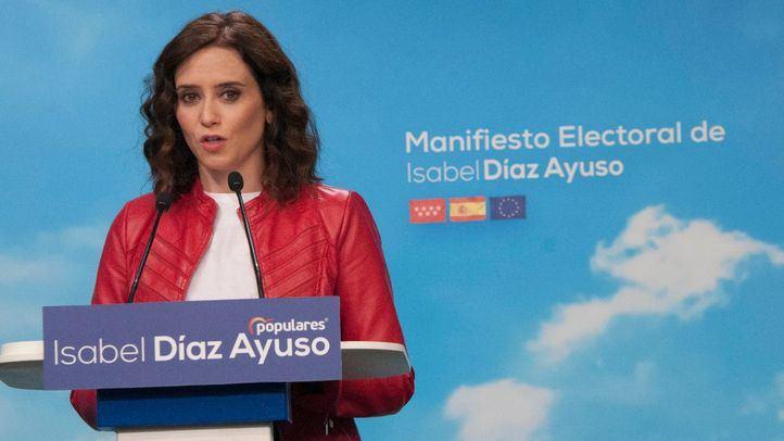 Isabel Díaz Ayuso durante la presentación de su manifiesto electoral.