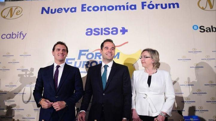 Ignacio Aguado, candidato de Cs, en un desayuno informativo organizado por Nueva Economía Fórum.