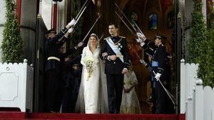 Sus majestades los Reyes a la salida de la Catedral de la Almudena