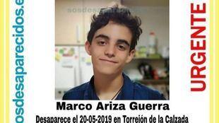 Fotografía del chico de 15 años desaparecido en Torrejón de Velasco