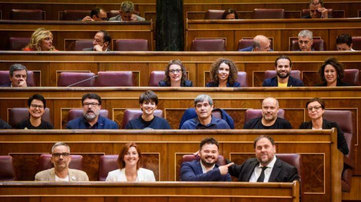 Los diputados de Esquerra Republicana de Cataluña en la sesión constitutiva del Congreso de los Diputados.