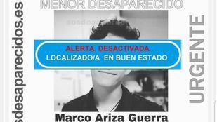 Marco, el menor desaparecido este lunes en Torrejón de la Calzada.