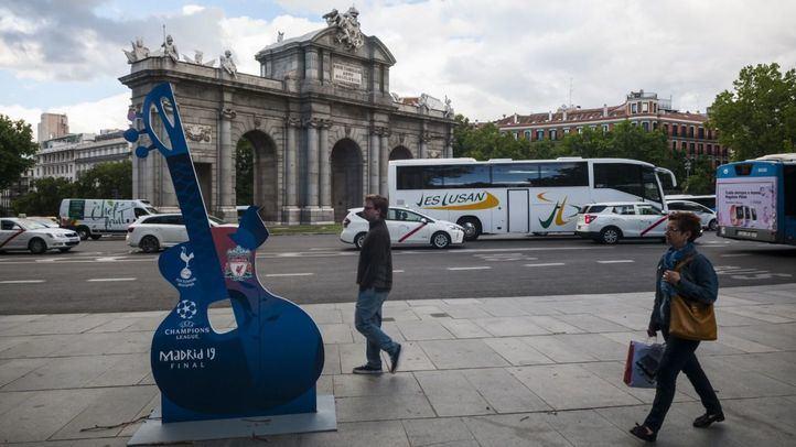 Carteles por las calles de Madrid anunciando la celebración de la final de la Champions League.
