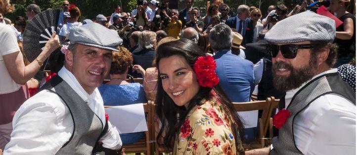 Los candidatos de Vox a la Alcaldía de Madrid, Javier Ortega-Smith (i), y a la Comunidad, Rocío Monasterio (c), junto al jefe de campaña, Iván Espinosa de los Monteros (d), en San Isidro.