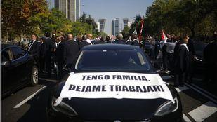 Manifestación de los VTCs en el Paseo de la Castellana en una foto de archivo.