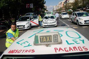 Manifestación de taxistas. Foto de archivo.