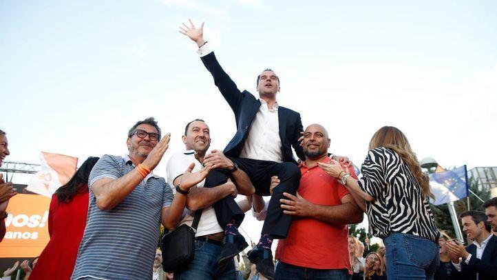 El líder de Ciudadanos en la Comunidad de Madrid, Ignacio Aguado, en el cierre de campaña.