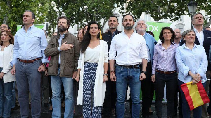 Los miembros de Vox, en una imagen de acto de cierre de campaña del 26-M.