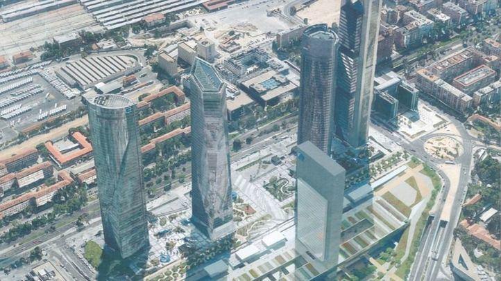 Recreación del rascacielos Caleido (Quinta torre) y sus zonas aledañas.
