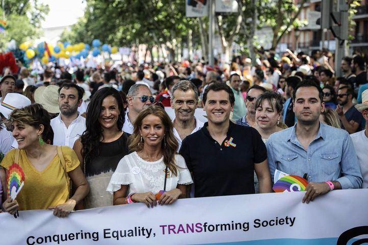 Albert Rivera, Begoña Villacís, Toni Cantó e Ignacio Aguado, representación de C's en la marcha del Orgullo 2018.