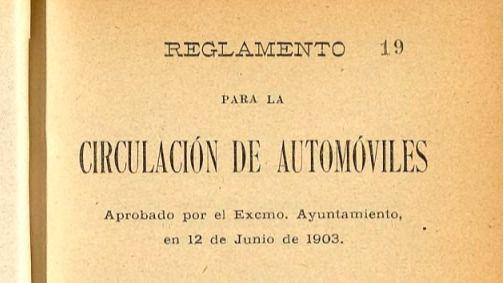Portada del reglamento de circulación de automóviles del 12 de junio de 1903