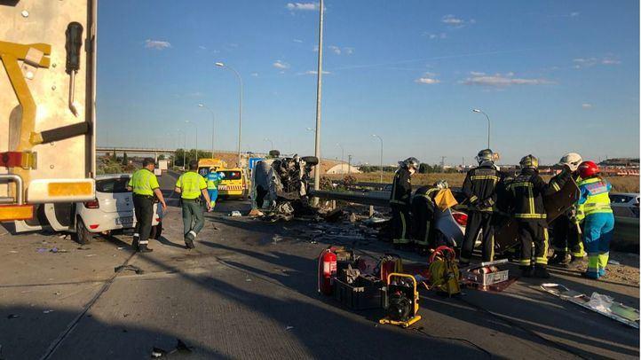 Accidente múltiple en el km 51 de la M-50, a la altura de Getafe.