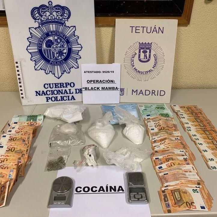 Siete detenidos y casi un kilo de cocaína intervenido en Tetuán