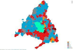 Mapa de resultados de cada municipio madrileño en las elecciones del 26-M.