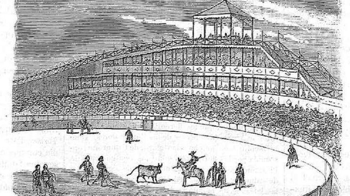 Grabado de la montaña rusa y plaza de toros de los Campos Elíseos de Madrid en 'Un concierto en los Campos Elíseos', en El Periódico Ilustrado (Siglo XIX).
