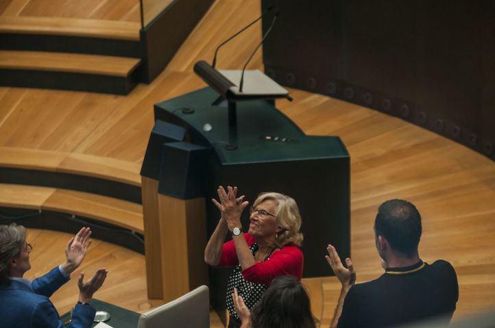 Manuela Carmena, en su último Pleno como alcaldesa.
