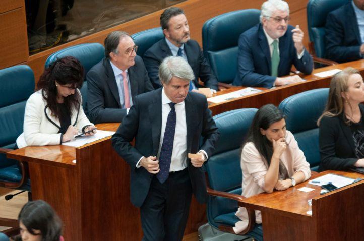 El expresidente de la Comunidad de Madrid, Ángel Garrido, en el pleno de constitución de la Asamblea.