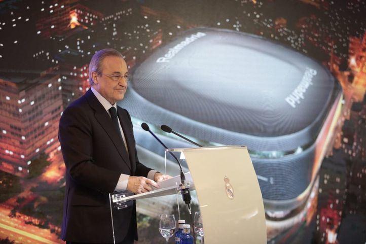 El presidente del Real Madrid, Florentino Pérez, en la presentación del nuevo Santiago Bernabéu.