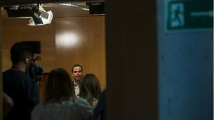 Ignacio Aguado, durante el comunicado ofrecido en la Asamblea de Madrid para rechazar las exigencias de Vox.
