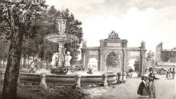Grabado de la Puerta de Atocha y la Fuente de la Alcachofa, atribuido a Vicente Camarón (Museo Municipal de Madrid).