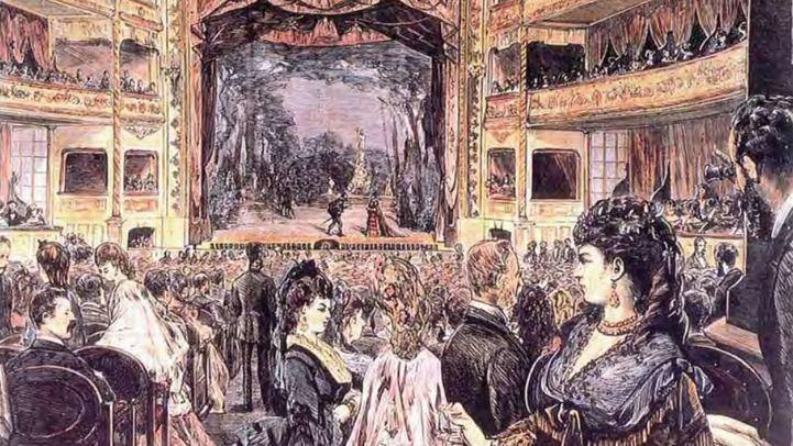 Grabado de la inauguración del Teatro Apolo