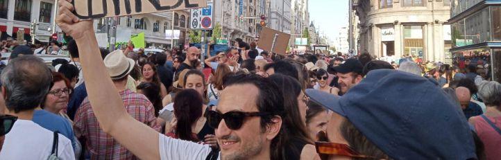 Manifestación a favor de Madrid Central en Gran Vía.
