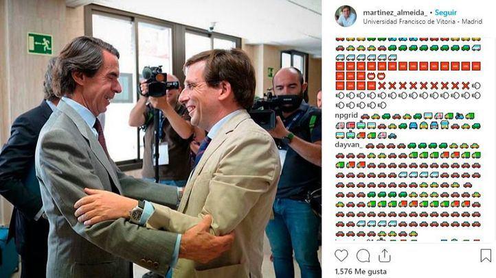 Comentarios repletos de emojis de vehículos en el Instagram de Almeida