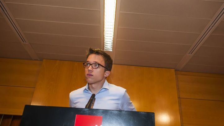 íñigo Errejón, en rueda de prensa en la Asamblea de Madrid.