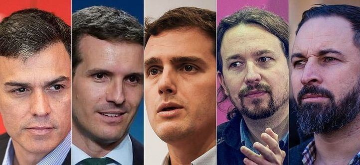 De izquierda a derecha: Pedro Sánchez, Pablo Casado, Albert Rivera, Pablo Iglesias y Santiago Abascal.