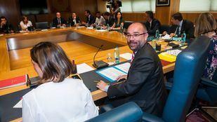 El presidente de la Asamblea, Juan Trinidad (Cs), en la última reunión de la Junta de Portavoces.