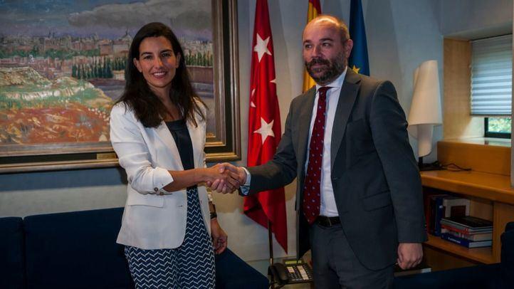 La líder de Vox, Rocío Monasterio, en su turno de la segunda ronda de consultas con el presidente de la Asamblea, Juan Trinidad.