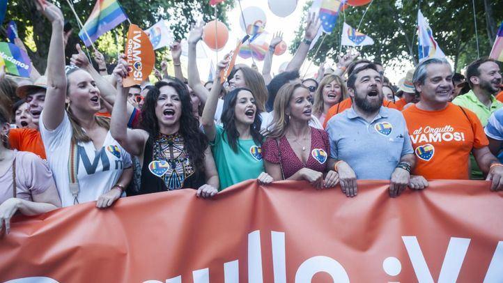 Inés Arrimadas, durante la manifestación del Orgullo el pasado sábado.