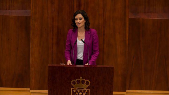 Isabez Día Ayuso en el Pleno de investidura sin candidato en la Asamblea de Madrid.