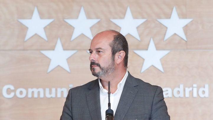 El presidente en funciones de la Comunidad de Madrid, Pedro Rollán, en la rueda de prensa posterior al Consejo de Gobierno.