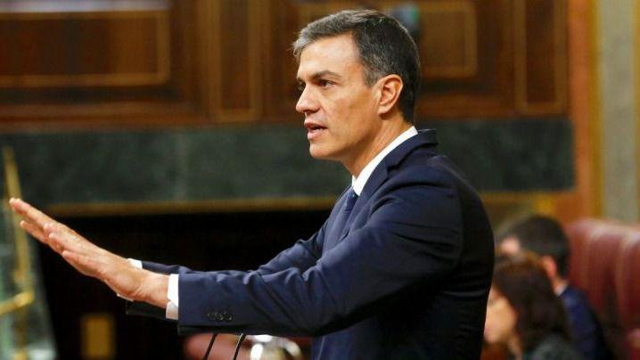 Pedro Sánchez, durante su discurso en el Pleno de investidura
