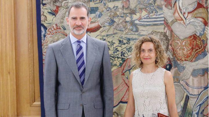 Felipe VI ha recibido en el Palacio de la Zarzuela a la presidenta del Congreso, Meritxell Batet.