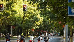 Motoristas en el Paseo del Prado