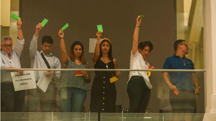 Cooperativistas de las Cocheras de Cuatro Caminos celebran la aprobación del plan parcial en el Pleno del Ayuntamiento de Madrid.