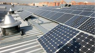 Paneles solares en Madrid.