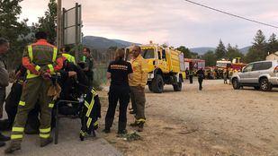 Puesto de control en Rascafría para controlar el incendio de La Granja.