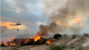 Incendio en el camino de los Morales, en Brunete.